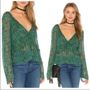 Free People Uptown Bell Sleeve Green Ruffle Blouse